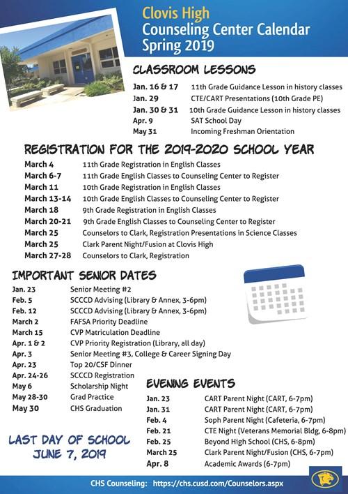 Counseling Center Calendar Spring 2019