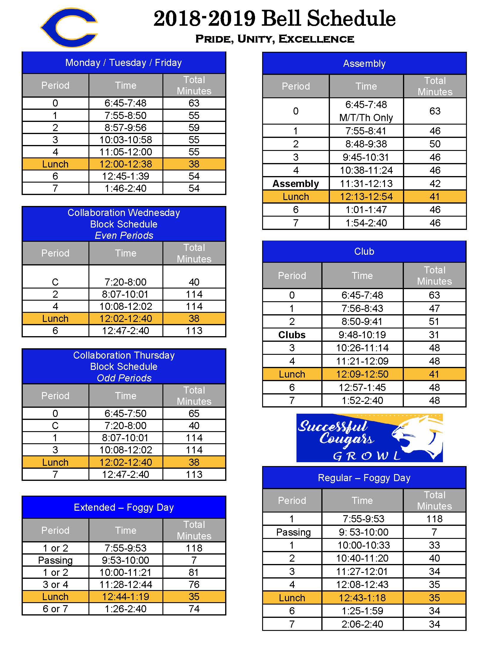2018-2019 Bell Schedule. Click the image to download.