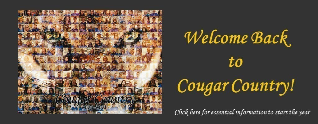 "Staff photo collage with text reading ""Welcome Back to Cougar Country"