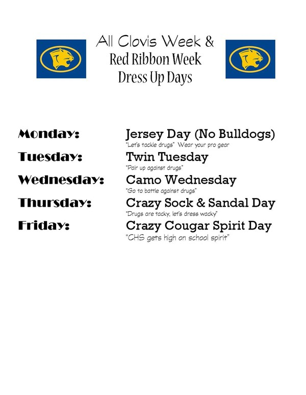 2018 All Clovis Week and Red Ribbon Week Dress-up days