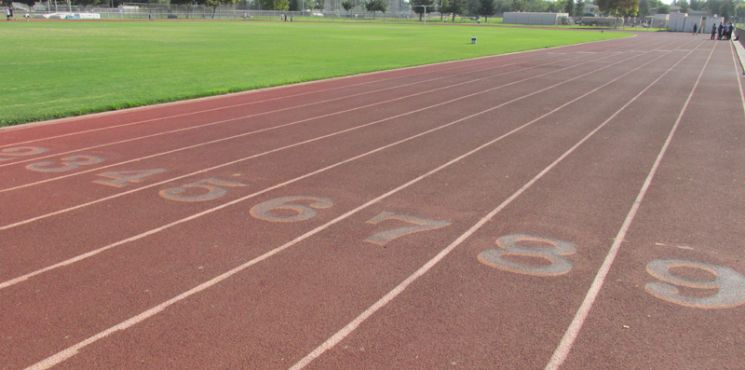 Running lanes on a track and field
